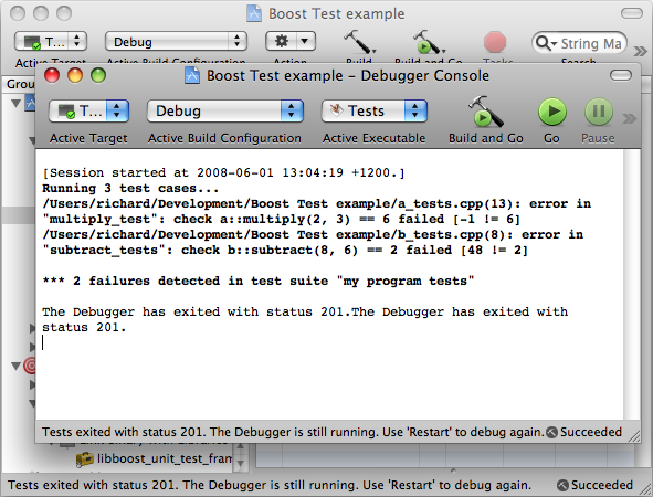 Tests in Xcode console debugger